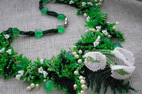 вышивка зеленым бисером